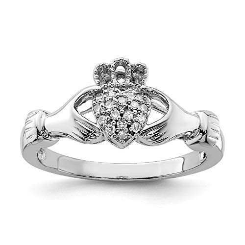- 925 Sterling Silver Diamond Irish Claddagh Celtic Knot Band Ring Size 7.00 Fine Jewelry Gifts For Women For Her