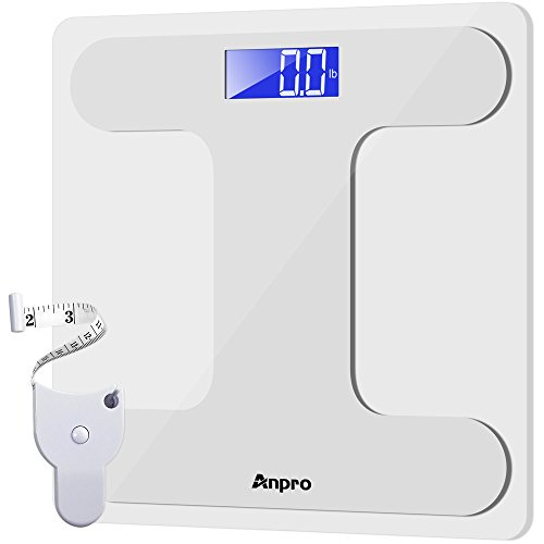 Anpro-Digital-Body-Weight-Bathroom-Scale-and-Body-Tape-Measure-Auto-On-Technology-Digital-Body-Weight-Scale-Tempered-Glass-High-Precision-Scale-with-Large-LED-Display400-Pounds-Capacity