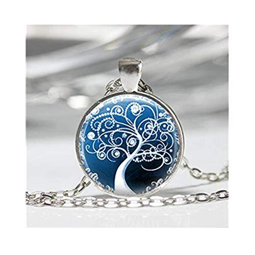 Tree Necklace, Winter Jewelry ,Snow White Swirly Tree Dazzling Blue Art - Snow Swirly