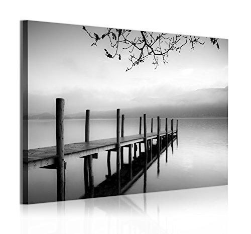 DekoArte 313 - Cuadros Modernos Impresion de Imagen Artistica Digitalizada   Lienzo Decorativo para Salon o Dormitorio   Estilo Zen Blanco y Negro con Paisaje de Agua Embarcadero   1 Pieza 120x80cm