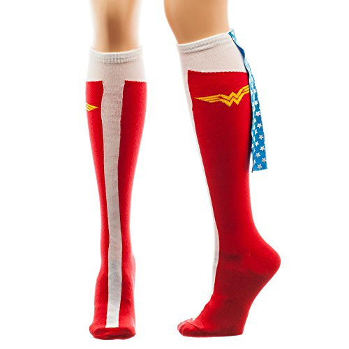 Wonder Woman Caped Boot Knee High Socks, sock size 9--11, fits shoe size 5-10 - Wonder Woman Costume Uk