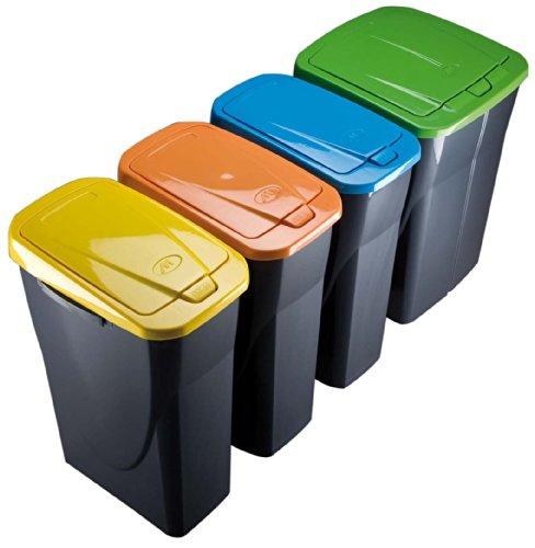 Mondex pls8086-19Roll Top-Abfalleimer Mülltrennung Küche mit Deckel Kunststoff 36x 21,5x 51cm 25L, Kunststoff, grün, 25 l