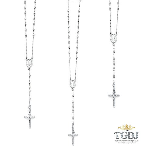 TGDJ 14K White Gold 3mm Mirrorball Bead Miraculous Medal Rosary Necklace 26 inches by Top Gold & Diamond Jewelry