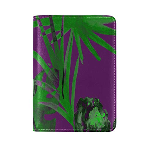 Passport Cover Case Banana Fan Plant Green Leaf Nature Tropical Leather&microfiber Multi Purpose Print Passport Holder Travel Wallet For Women And Men 5.51x3.94 In