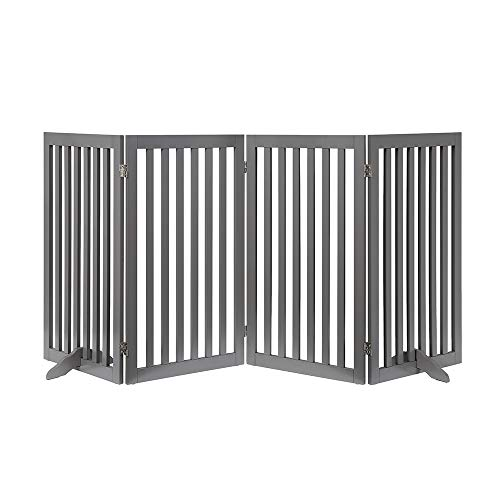 "unipaws Freestanding Wooden Dog Gate, Foldable Pet Gate with 2PCS Support Feet Dog Barrier Indoor Pet Gate Panels for Stairs, Gray (20"" Wx36 H, 4 Panels)"