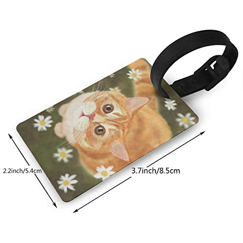 Luggage Tags Custom Abstract Kitten Cat Daisy Flower PVC Suitcase Labels Travel Accessories ID Labels (1pcs)