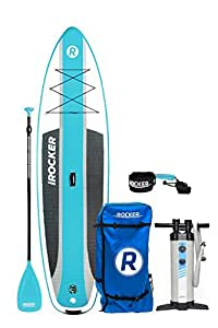 """iROCKER Cruiser Inflatable Stand Up Paddle Board 10'6"""" Long 33"""" Wide 6"""" Thick SUP Package (Aqua 2018)"""