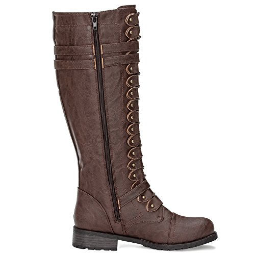Women's Buckle Lace Military Solemate Boots Knee Brown up High Combat d1qxd6wX