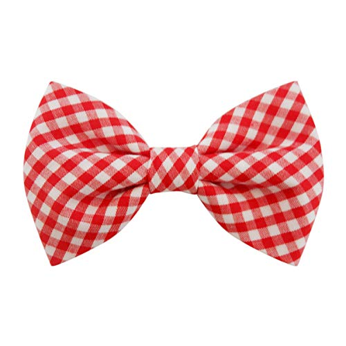 THE DOK Red Gingham - Dog Cat Pet Bow Tie Bowtie Collar Accessory 4 inch
