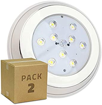 LEDKIA LIGHTING Pack Foco Piscina LED Inox Superficie 9W (2 un) Blanco Cálido 3000K: Amazon.es: Iluminación