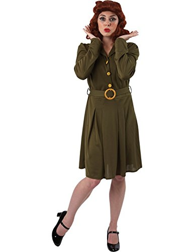 1940s Day Dress Styles, House Dresses Womens Adult 1940s 40s Wartime Dress Fancy Dress Costume WWII World War Two Military Outfit Green £19.99 AT vintagedancer.com