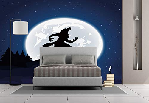 Large Wall Mural Sticker [ Wolf,Full Moon Night Sky Growling Werewolf Mythical Creature in Woods Halloween,Dark Blue Black White ] Self-adhesive Vinyl Wallpaper / Removable Modern Decorating Wall Art for $<!--$238.99-->