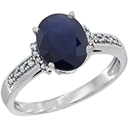 10K White Gold Natural Blue Sapphire Ring Oval 9x7 mm Diamond Accent, sizes 5 - 10