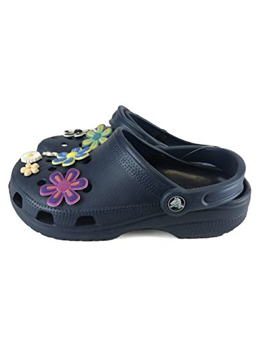 Crocs Cayman Lightweight Clogs Navy Flowers US5