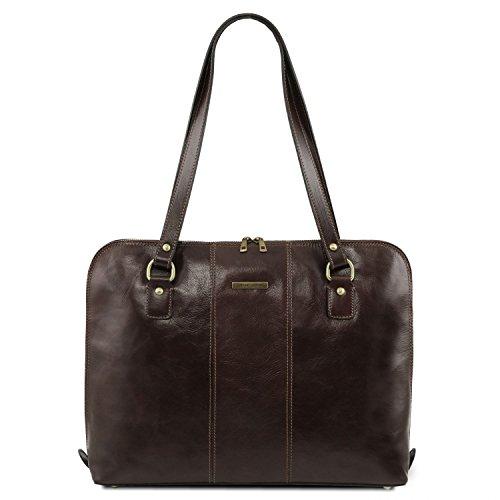 Leather Marron Foncé sac business Tuscany Exclusif Marron pour femme Ravenna axdqU8p