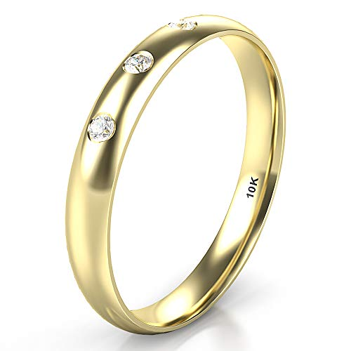 Bezel Diamond Wedding Band - Sz 4.0 Solid 10K Yellow Gold 3 Diamond 3MM Dome Wedding Anniversary Band Ring