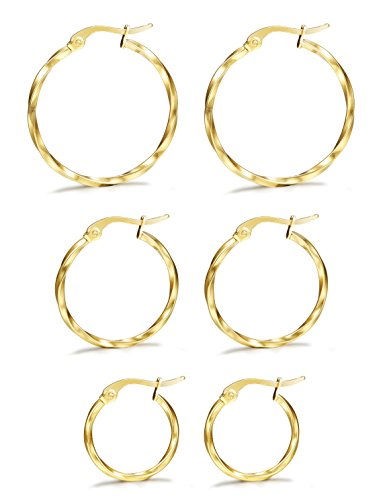 LOYALLOOK 3 Pairs Stainless Steel Twisted Small Gold Tone Hoop Earrings Set for Women 15-25mm Golded (Delicate Hoop)