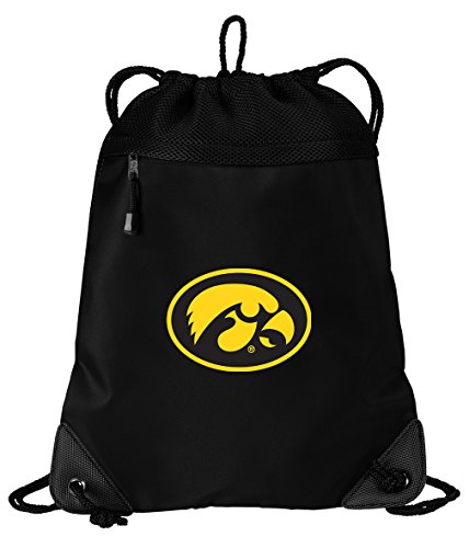 (Broad Bay Iowa Hawkeyes Drawstring Bag University of Iowa Cinch Pack Backpack Unique MESH & Microfiber)