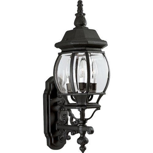 Progress Lighting P5700-31 3-Light Wall Lantern with Clear Beveled Glass, Textured Black