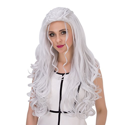Amback Long Curly Braid Styling Cosplay Wig Silver/Blonde for Daenerys Targaryen khaleesi (Silver)