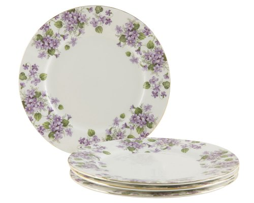Gracie Bone China 7-1/2-Inch Dessert Plate, Purple Violet Chintz, Set of - Chintz Cake Plate