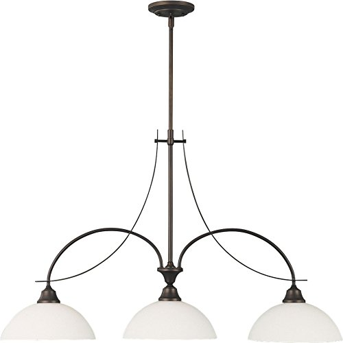 """Feiss F1886/3ORB Boulevard Glass Pool Table Chandelier Lighting, Bronze, 3-Light (11""""W x 25""""H) 300watts from Murray Feiss"""