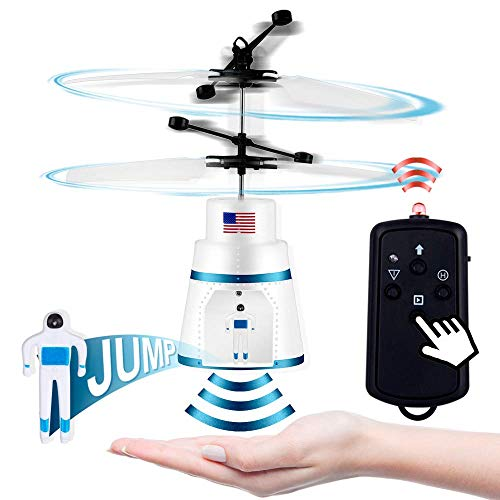 PALA PERRA Flying Toy Mini RC Helicopter, Rechargeable Infrared Induction Flying Drone Indoor and Outdoor Games Toys, Remote Control Helicopter for Kids Parachute with Jumping Paratrooper (Best Coaxial Rc Helicopter)