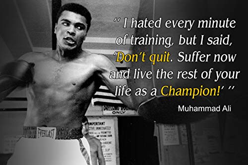 Muhammad Ali Poster Quote Boxing Black History Month Posters Sports Quotes Decorations Growth Mindset Décor Learning Classroom Teachers Decoration Educational Teaching Supplies Black Wall Art P046 ()