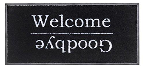 Tappeto Di Porta d' ingresso, Zerbino Emotion XS Welcome & Goodbye, 80x 40cm BSM 2000