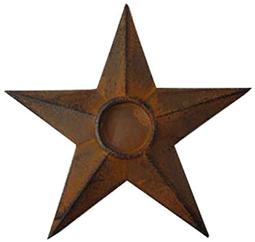 Craft Outlet Star Candle Holder, 8 by 8 by 0.75-Inch, Rust, Set of 2