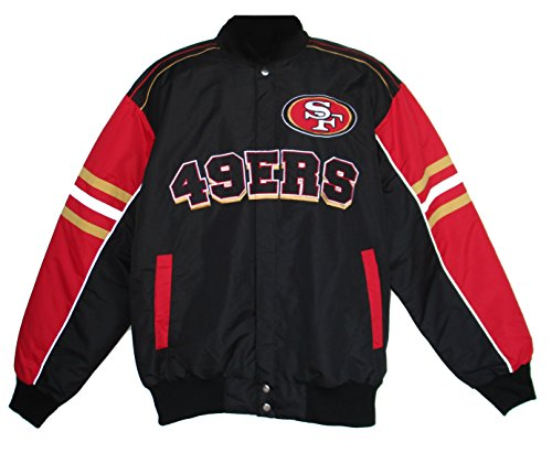 San Francisco 49ers G-III Sports NFL Mens Defense Snap Front Jacket - Black/Red - Size Large