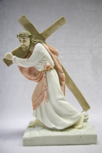 """9"""" Jesus Christ Carrying the Cross Catholic Statue Sculpture Figurine Vittoria Collection Made in Italy"""