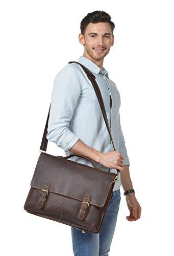 Kattee Lychee Grain Genuine Cow Leather Laptop Tote Messenger Shoulder Bag