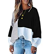 ECOWISH Women Sweater Long Sleeve Color Block Knit Pullover Sweaters Crew Neck Patchwork Casual L...