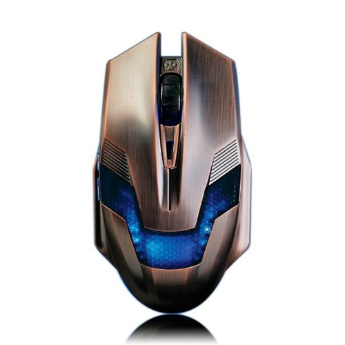 A-jazz Green Hornet Computer/Laptop High Precision Gaming Mouse with 6D Controls 800/1600/2000 DPI with Add Design Copper Color USB Braided Wire Anti-interference Magnetic ()