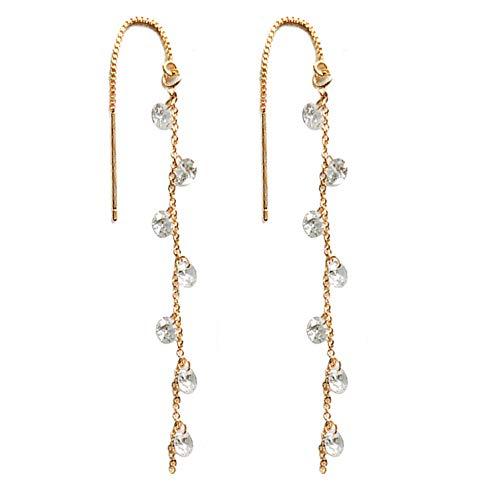 - OwMell 925 Sterling Silver Tassel Drop Earrings Long CZ Droplet Dangle Threader Earrings for Women Gold Plated