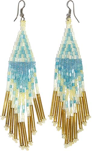 AnsonsImages Native American Indian Seed Bead Earrings Tubes Patterns Turquoise Cream Ivory White Gold Silver Tone