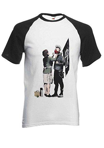 Women Store Men T Banksy Sleeve Shirt Unisex Patpat Baseball Short Punk Street white Black Novelty Art Anarchy Mum PfdHAwq
