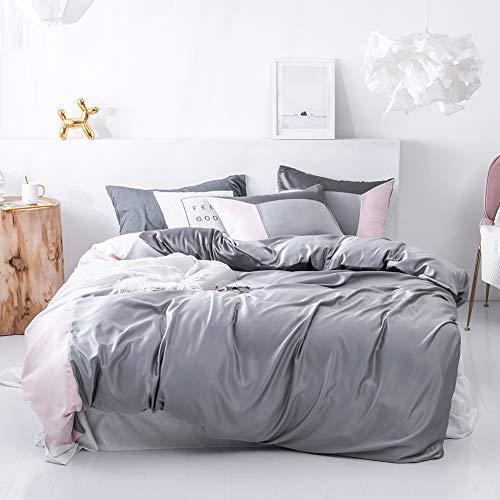 SANMADROLA 3 Piece Duvet Cover Set (1 Duvet Cover + 2 Pillow Shams) Satin Silk Microfiber Bedding Collection SXX01A-grey-queen