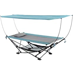 Garden and Outdoor Mac Sports H806S-201 Collapsible Portable Removable Canopy Hammock, Teal hammocks