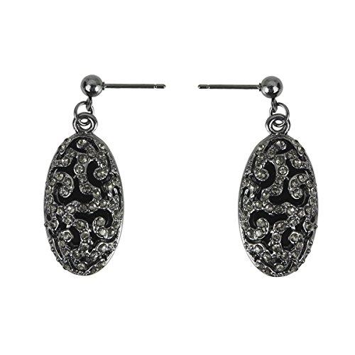 Lova Jewelry Evening Allure Swirls Crystal Embellishments Black Plated Metal Earrings