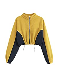 Women's Pullover Blouse Autumn Casual Floral Zipper Long Sleeve Sweatshirt