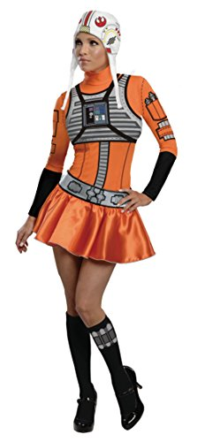 Tv Star Fancy Dress Costumes (Secret Wishes Star Wars Woman's  X-Wing Fighter, Orange/Black, Small)