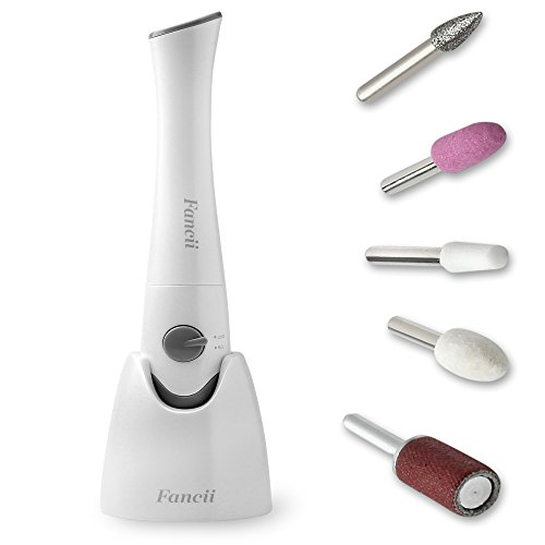Fancii Professional Electric Manicure & Pedicure Nail File Set with Stand - The Complete Portable Nail Drill System with Buffer, Polisher, Shiner, Shaper and UV Dryer (Nail Polisher)