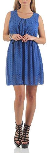 malito Vestido con Puntos Verano Vestido 1161 Mujer Talla Ùnica Azul