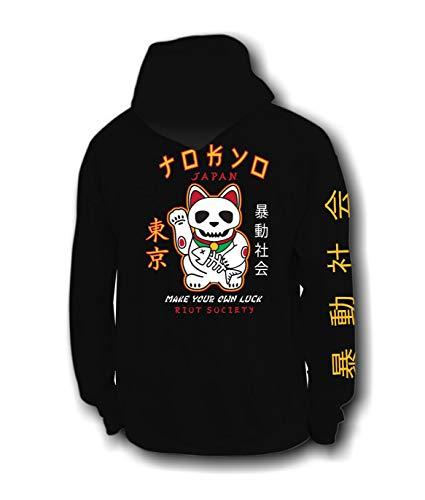 (Riot Society Japan Lucky Cat Skull Mens Hoodie - Black,)