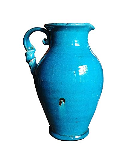 Vintage Old World Hand Thrown Heavy Water Jug with Twisted Handle. Glazed Terra Cotta in Ancient Aqua Blue with Stressed Surfaces Weighs 9.95 Pounds ()