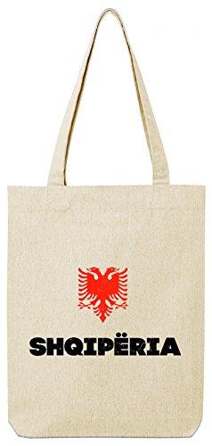 ShirtStreet Länder Wappen Tirana Länder Premium Bio Baumwoll Tote Bag Jutebeutel Stanley Stella Flagge Albanien Natural