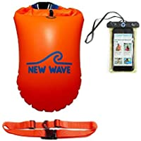 New Wave Swim Buoy - Swimming Tow Float and Drybag for Open Water Swimmers and Triathletes - Light and Visible Float for Safe Training and Racing - Orange PVC