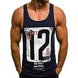 PASATO Men's M-3XL Casual Vest Slim Letter Printed Sleeveless Tank TOP T Shirt Top Blouse (Navy,M=US:S)